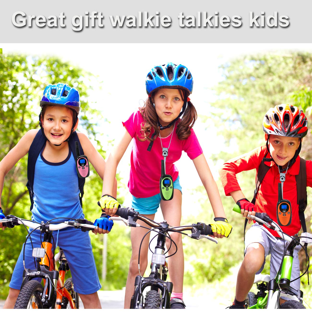FREE TO FLY Kids Walkie Talkies Kid Toys 22 Channel FRS 2 Way Radios Party Toys for Camping/Hiking/Adventures 3.0 Miles Range Suit 6 UP Year Old Kids & Adults ( Three Packs with 9 Batteries ) by FREE TO FLY (Image #2)