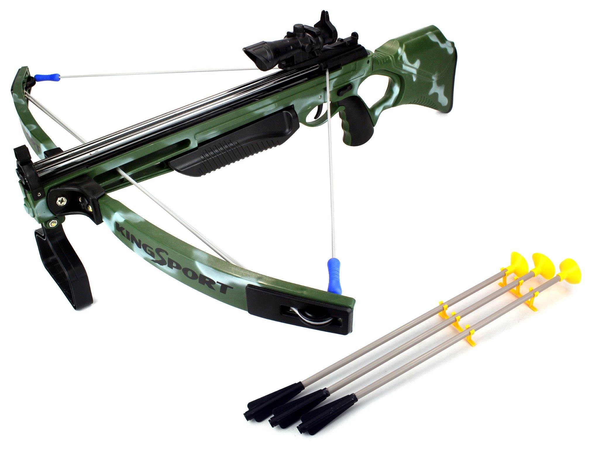 Toy Crossbow Set Deluxe Action Military Toy Crossbow Suction Dart Playset w/ Foot Stirrup, 3 Suction Darts, Holder, Mock Scope