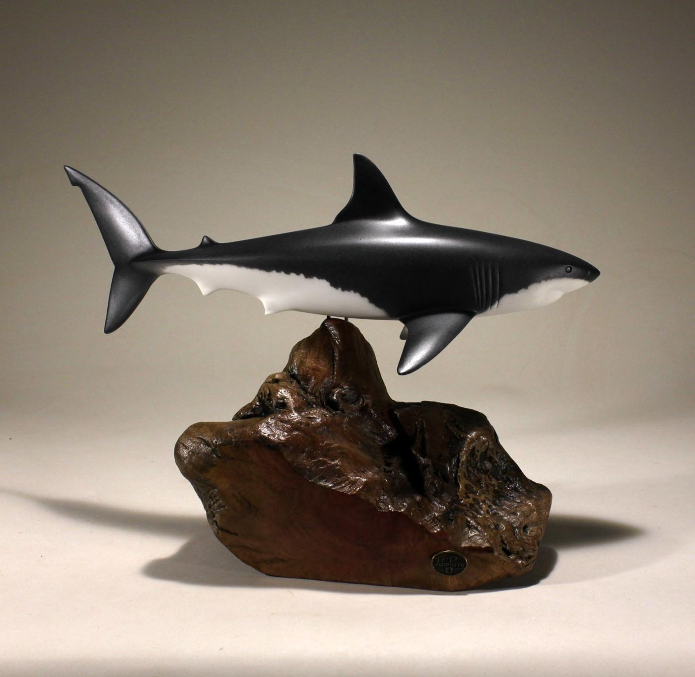 Great White Shark Sculpture by John Perry 15in Long Airbrushed on Burl Wood Decor