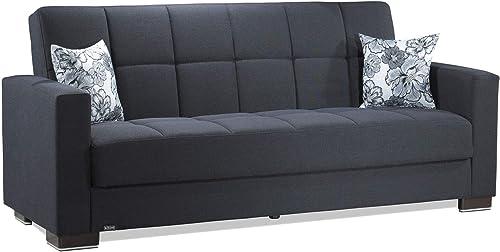 Ottomanson ARM-SB-11 Armada Dark Blue Fabric Upholstery Sofa Sleeper Bed With Storage, 36 x 88 x 38
