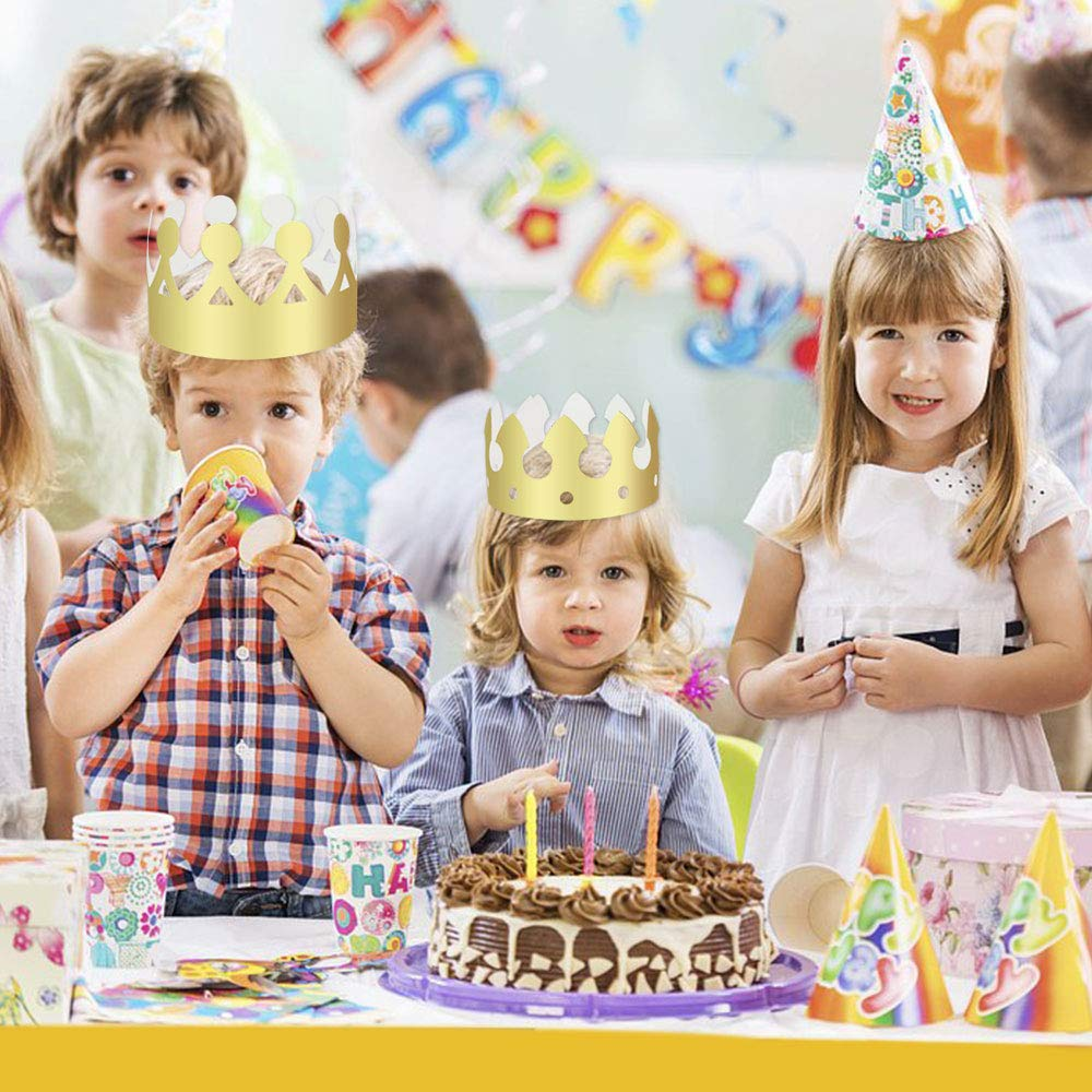 HTIANC 24 Pieces Gold Birthday Crown Hats,Gold Paper Party Crowns Hat 2 Style for Birthday Celebration Shower Photo Props