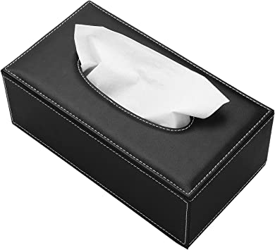 PU Leather Rectangular Facial Tissue Box Napkin Holder for Home Office Car