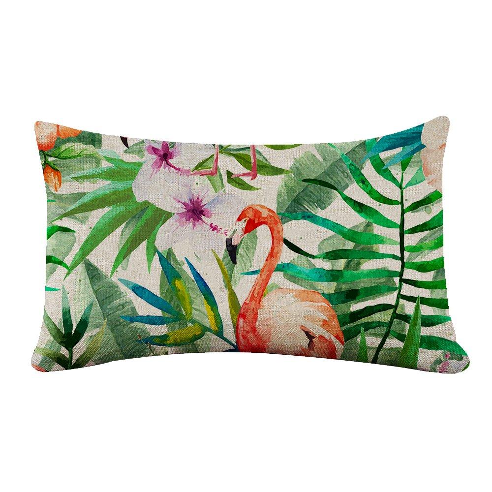 yilooomコットンキャンバス長方形枕カバーヴィンテージTropical Flamingo Floralランバーサポート枕カバーCases 12 x 18インチ 12x18 lumbar pillow covers#YJBZZF-16-01 B0778MRR3R マルチ 12x18