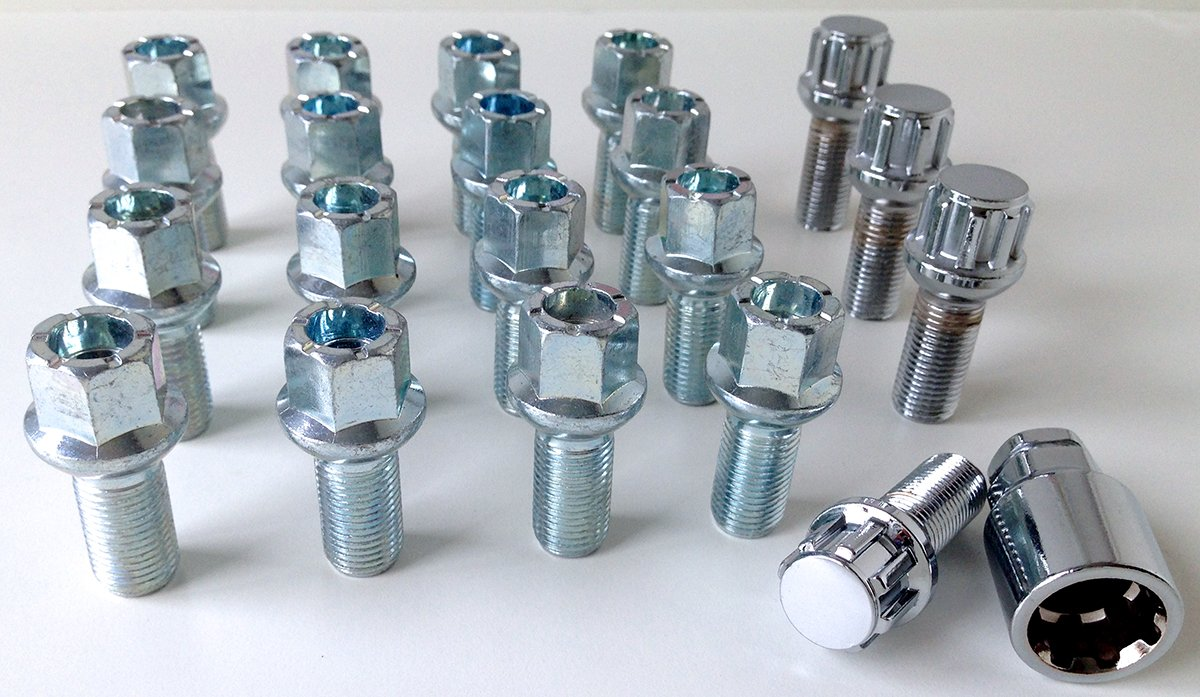 Set of 20 alloy wheel bolts M14 x 1.5 thread 27mm long radius seat 17mm Hex inc 4 locking bolts suitable for Audi