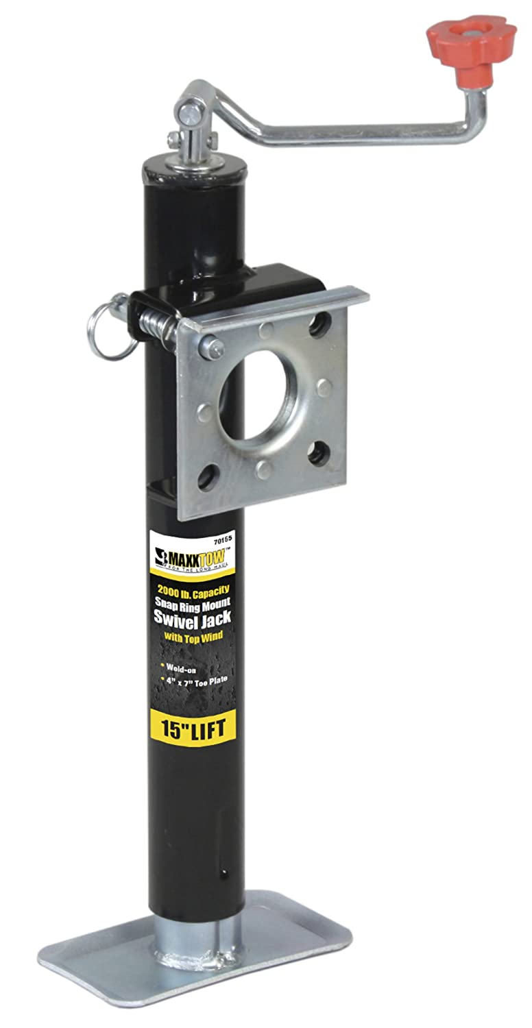 "MaxxHaul70155 15"" Lift Ring Mount Trailer Jack with Top Wind - 2000 lbs. Capacity"