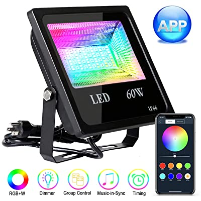 LED Flood Lights,Autai 60W Bluetooth RGBW Flood Light with APP Remote Control, IP66 Waterproof Dimmable Outdoor Color Changing Floodlight, Wall Washer Light Garden Landscape Stage Lighting (1PACK)