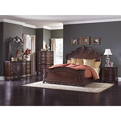 Amazon.com: HEFX Dublin 5 Piece E King Sleigh Bedroom Set in ...