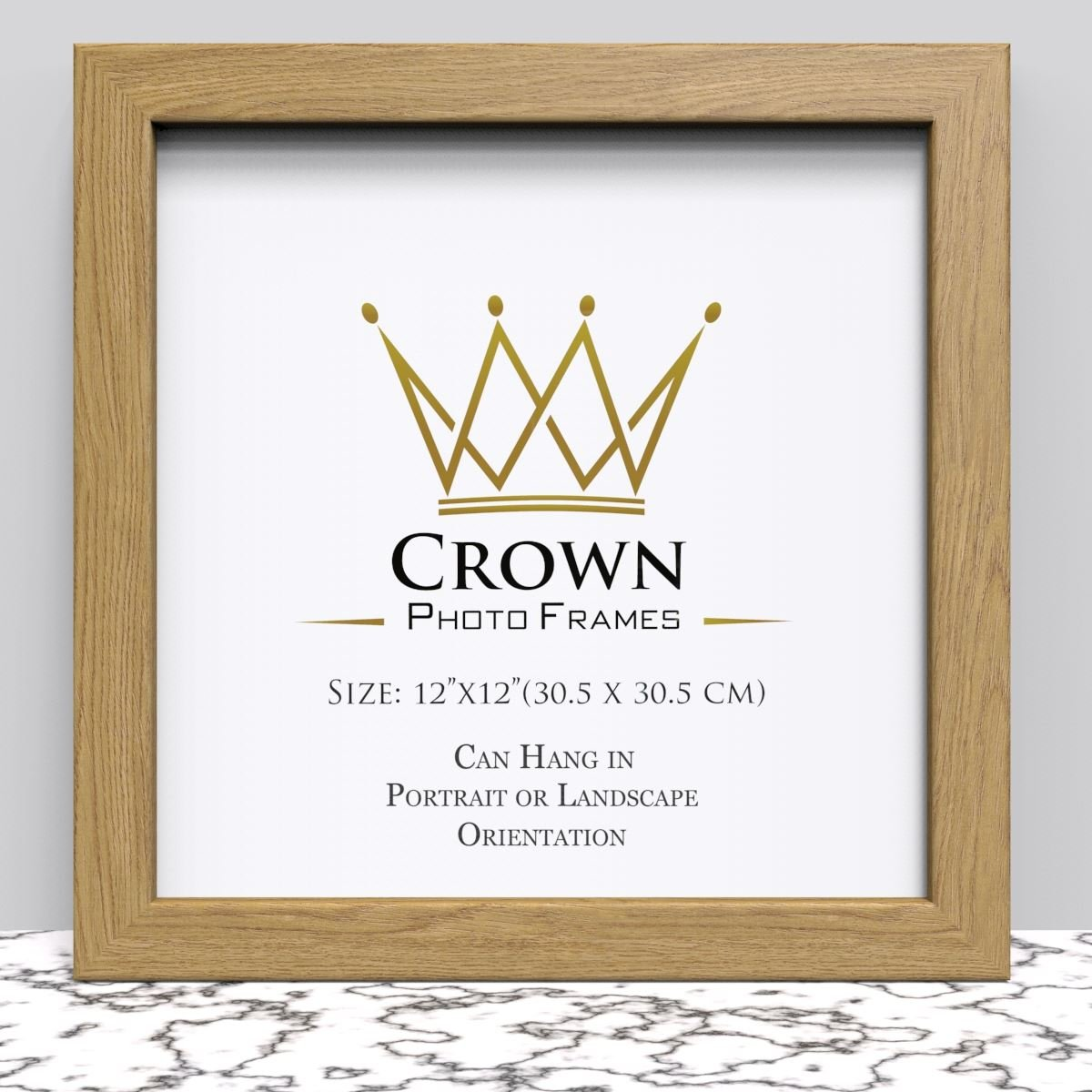 Crown Oak Photo Frame for 12x12 Inches (30.5 x 30.5 cm) Picture ...