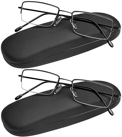 b2a93079843 Reading Glasses Set of 2 Half Rim Ultra Lightweight Coordinating Cases  Included and Durable Classic Readers