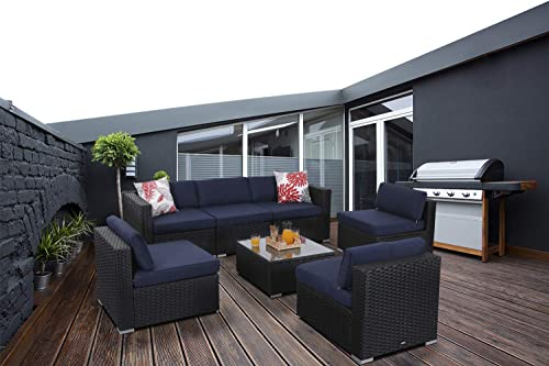 7-Piece Patio Furniture Set Rattan Sectional Sofa with Top Glass Table Outdoor Rattan Conversation Set, Navy-Blue