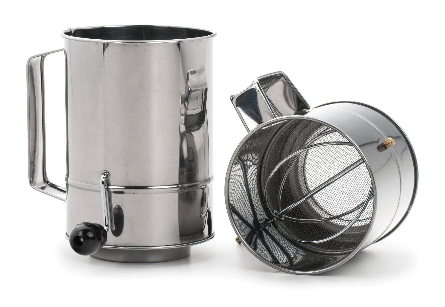 OKSLO Endurance stainless steel 5-cup crank style flour sifter - dishwasher safe