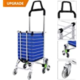 Meditool Swivel Folding Shopping Cart, Super-Deluxe Utility Cart, 8 Wheels Heavy Duty