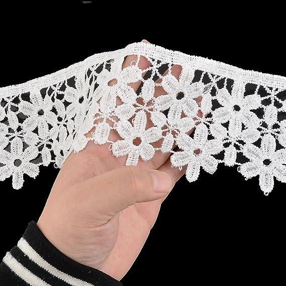 Amazon.com: eDealMax La decoración Floral poliéster de costura Adorno bordes de Encaje apliques 3, 1 pulgadas Ancho