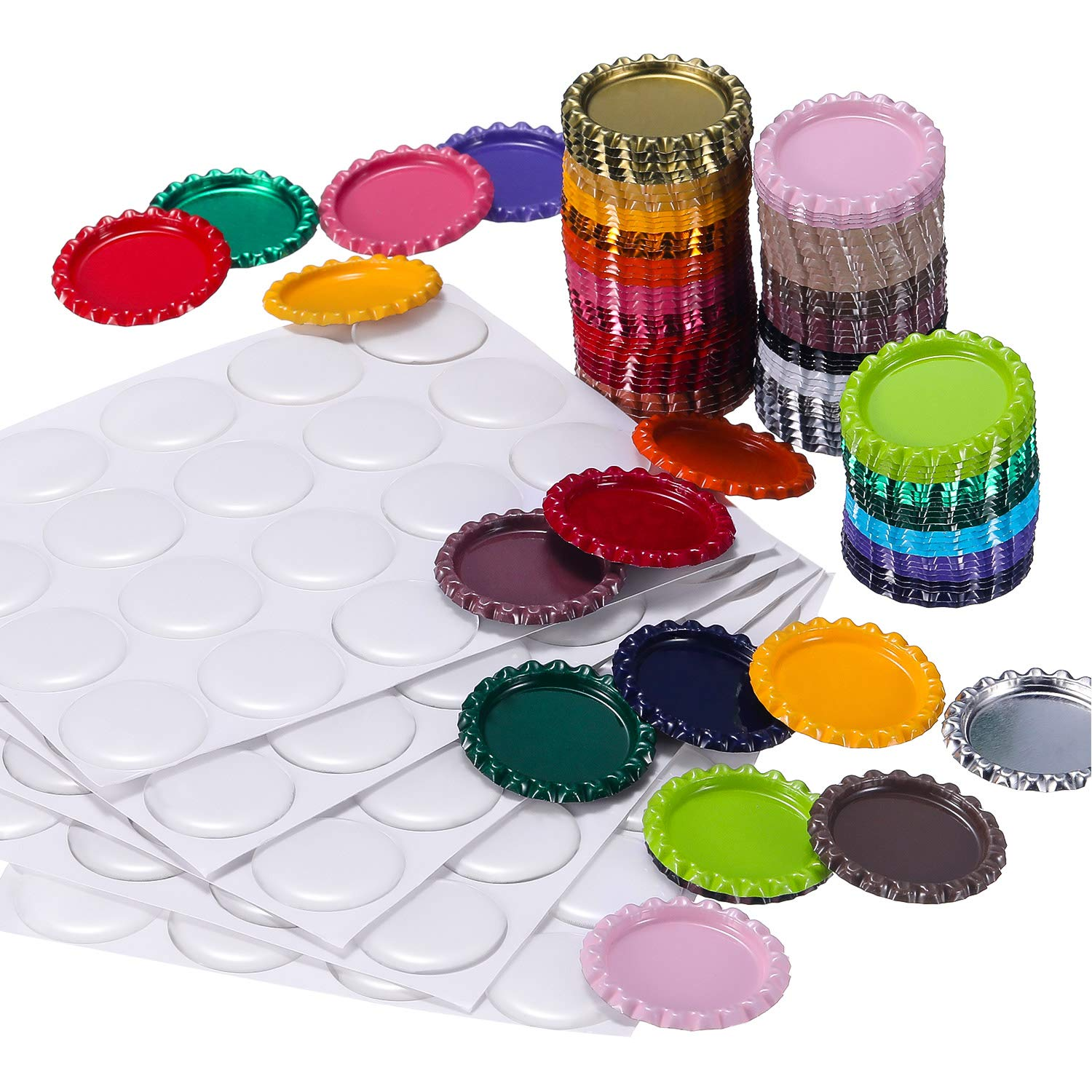 TecUnite 100 Pieces Flattened Bottle Caps in Double Sides Printed Mixed Colors and 100 Pack 1 Inch Clear Stickers for Photo Pendant Craft Jewelry Making 4336983840