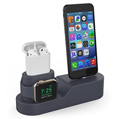 AHASTYLE 3 in 1 Charging Stand Dock Station Silicone Compatible with Apple Watch iPhone AirPods, Support Apple Watch Series 3/2/1/AirPods/iPhone X/8/8 Plus/7/7 Plus/6s (Navy Blue)