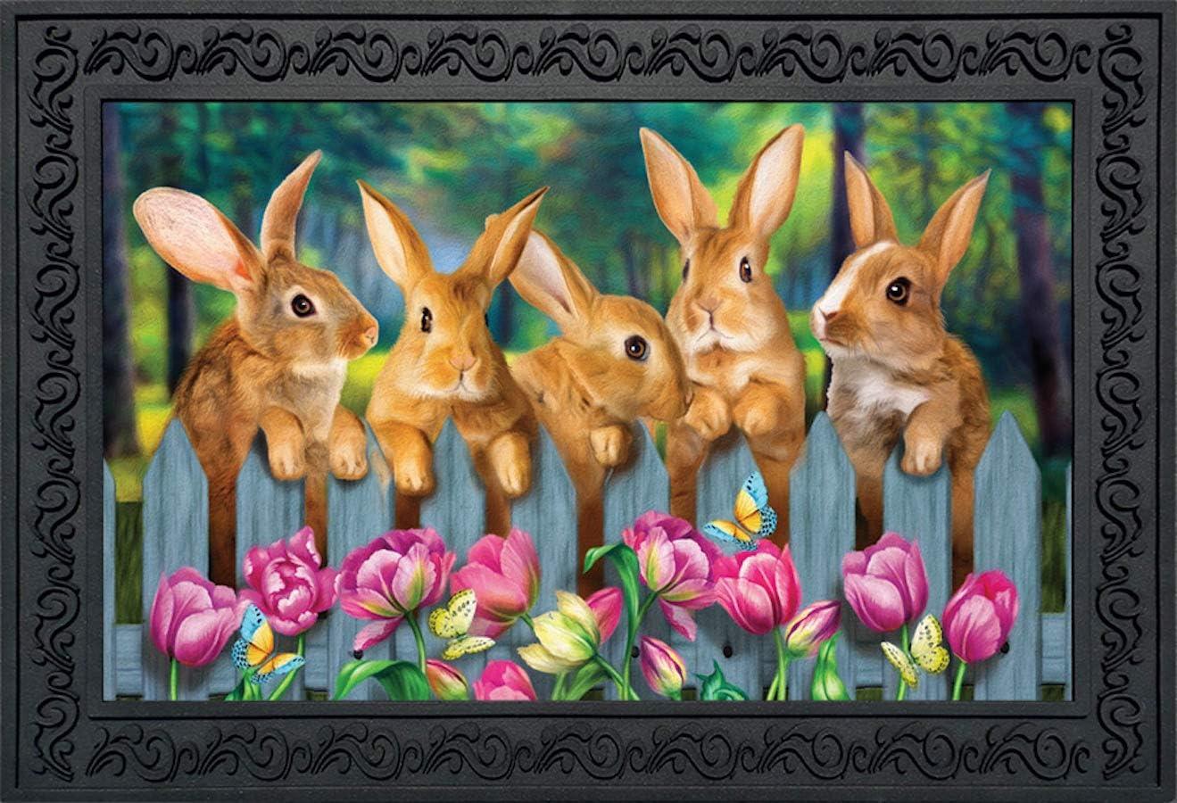 """Briarwood Lane Garden Bunnies Spring Doormat Tulips Easter Rabbits Indoor Outdoor 18"""" x 30"""""""
