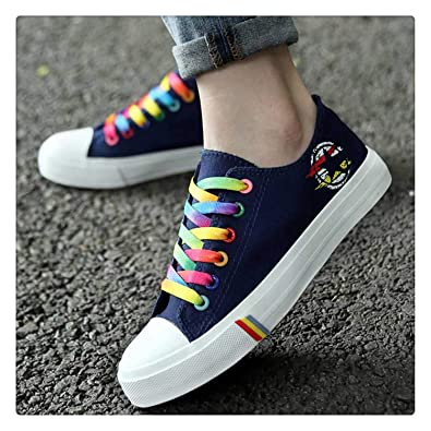 Amazon.com | Elma Dickens Fashion Canvas Shoes Woman Lace-up Casual Shoes Colorful Sneakers Vulcanize Breathable Tenis Feminino Zapatillas Mujer Blue 8 ...