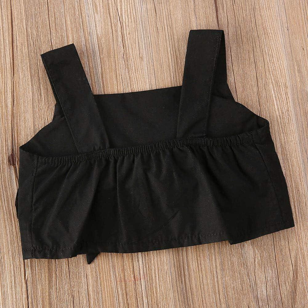 Trendy Kids Toddler Girl Summer Outfit Sleeveless Crop Top High Waist Sunflower Pants with Belt Clothes 1-6T