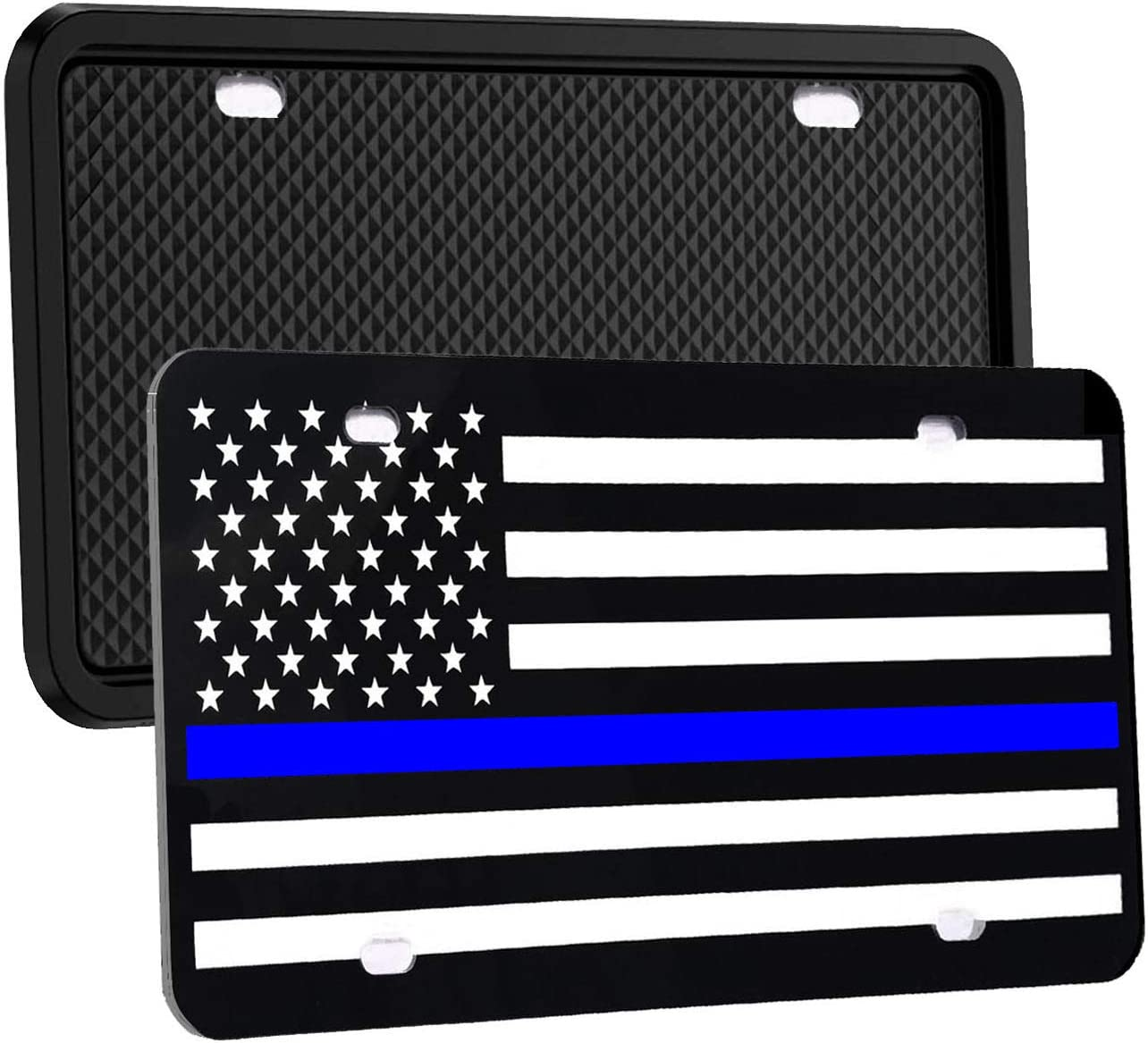 Silicone License Plate Frame 2 in 1,Blue Lives Matter,Novelty Auto Car Tag and Rattle-Proof Weather-Proof. Synrroe USA Flag License Plate