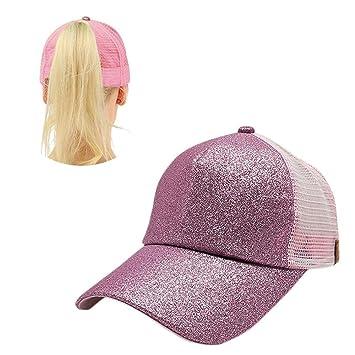 AOLVO - Sombrero de béisbol Personalizado diseño de moño de béisbol, Gorra de béisbol, Gorra Ajustable con Lentejuelas y Malla Transpirable para Deportes y ...