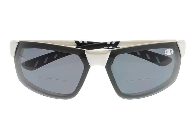 761bff8e630 BFOCO Sports Polarized Bifocal Sunglasses Lightweight TR90 Frame UV 400  Protection Outdoor Sun Readers White Frame