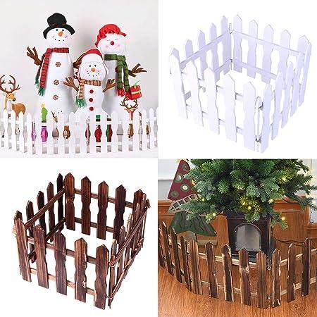 Sencillo Vida DIY Valla de Madera Árbol de Navidad Artificial decoración para Exterior/Interior, jardín, Patio, Decoraciones de Boda, Picket Fence Garden Kit, 1.2M, (Blanco): Amazon.es: Hogar