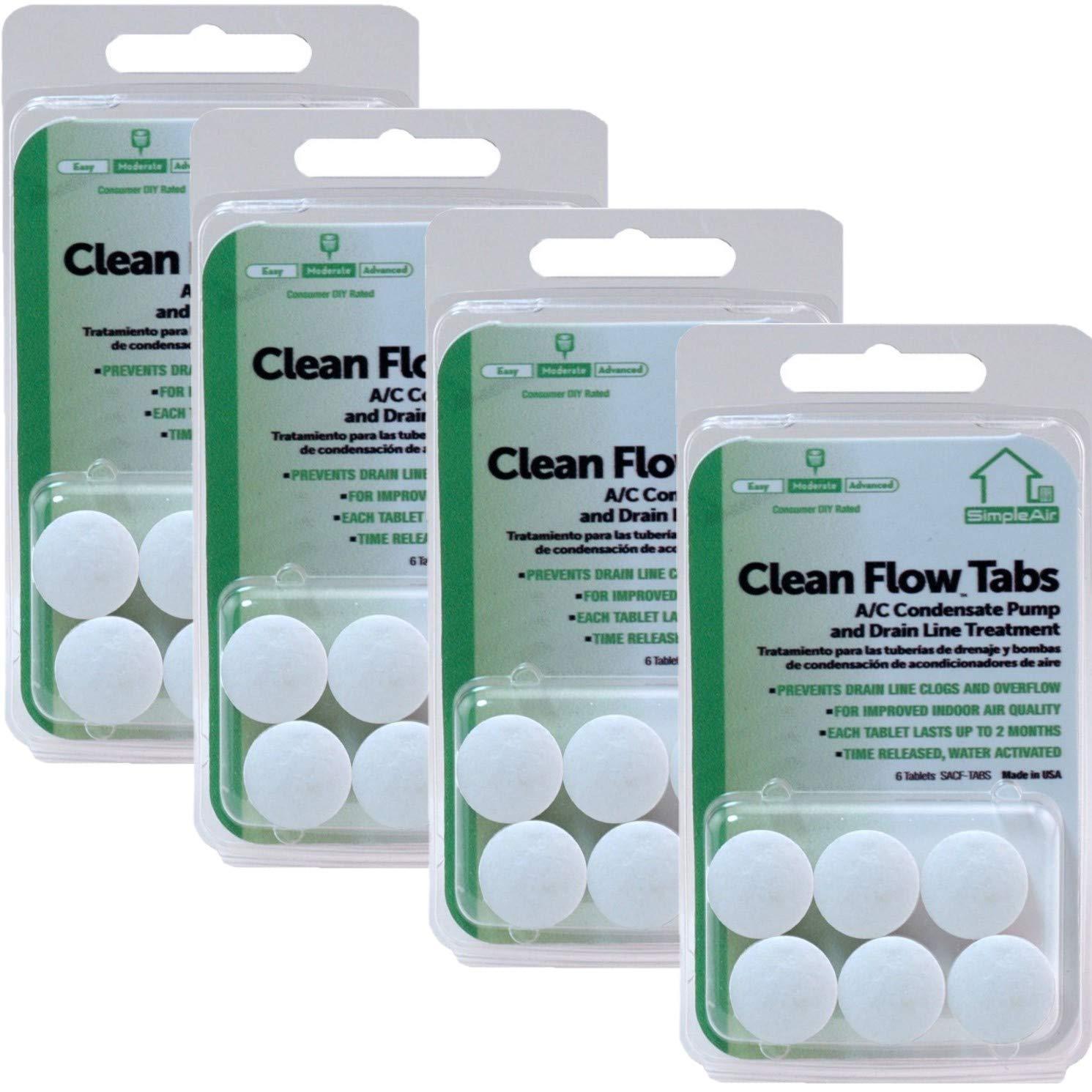 SimpleAir Clean Flow HVAC Drain Line Treatment Tabs, 6 pk, Pack of 4 (Total 24 Tablets)