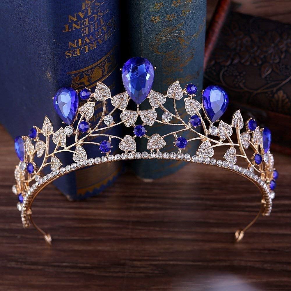 Tiaras Diamantes de imitación Boda del Tocado del Pelo Hojas Accesorios Nupcial Corona Azul zm0329