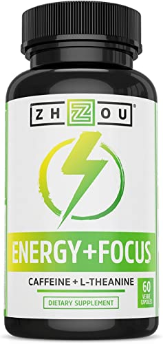 Caffeine with L-Theanine for Smooth Energy Focus – Focused Energy for Your Mind Body – No Crash No Jitters – 1 Nootropic Stack for Cognitive Performance – Veggie Capsules