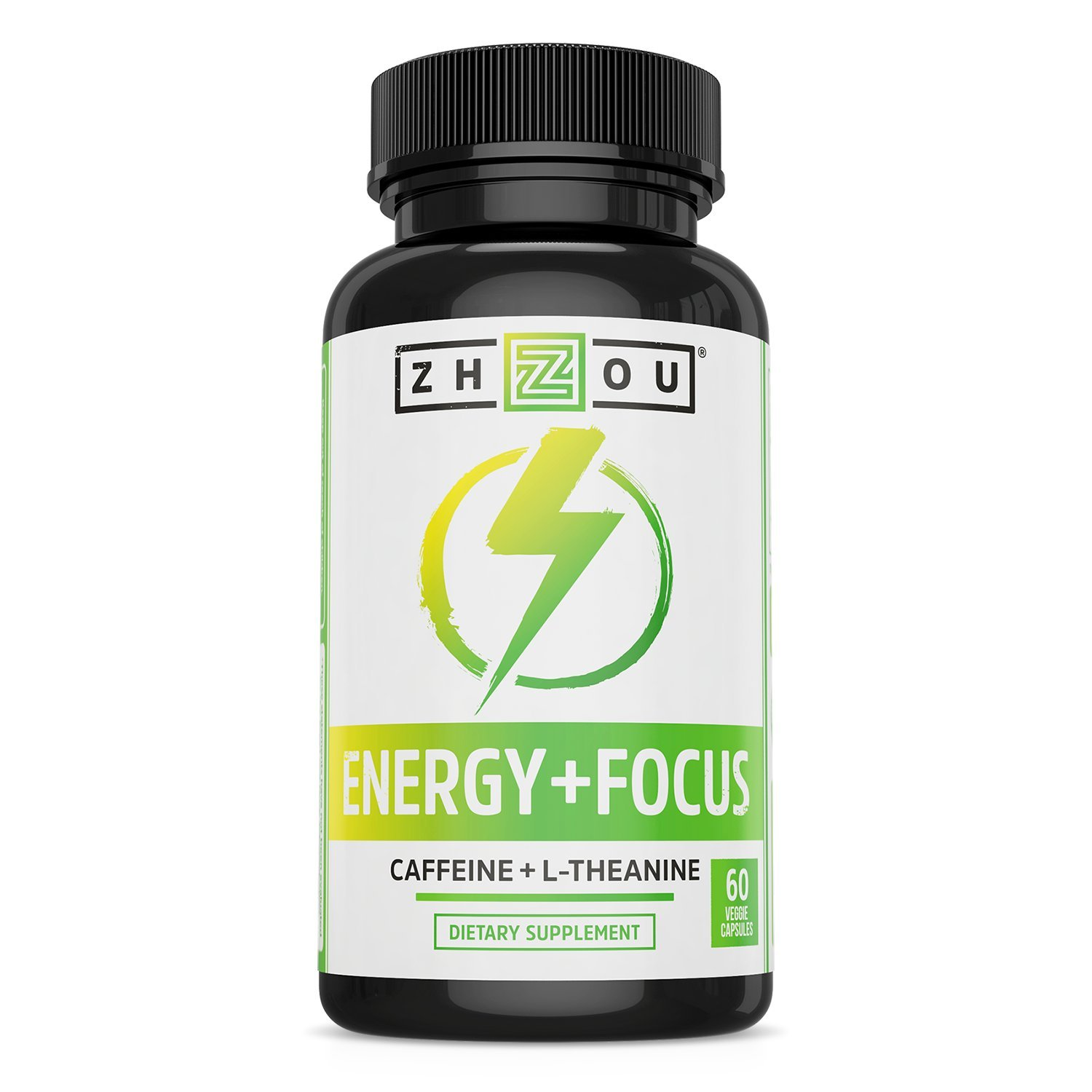 Caffeine with L-Theanine for Smooth Energy & Focus - Focused Energy for Your Mind & Body - No Crash ▫ No Jitters - #1 Nootropic Stack for Cognitive Performance - Veggie Capsules by Zhou Nutrition