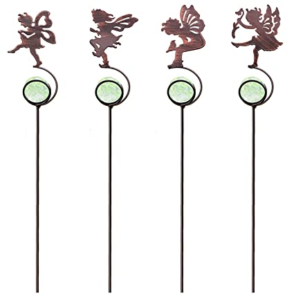 Attirant CREATIVE DESIGN Garden Stakes, 4 Pack Fairy Garden Stakes, Metal Mini Garden  Stake With
