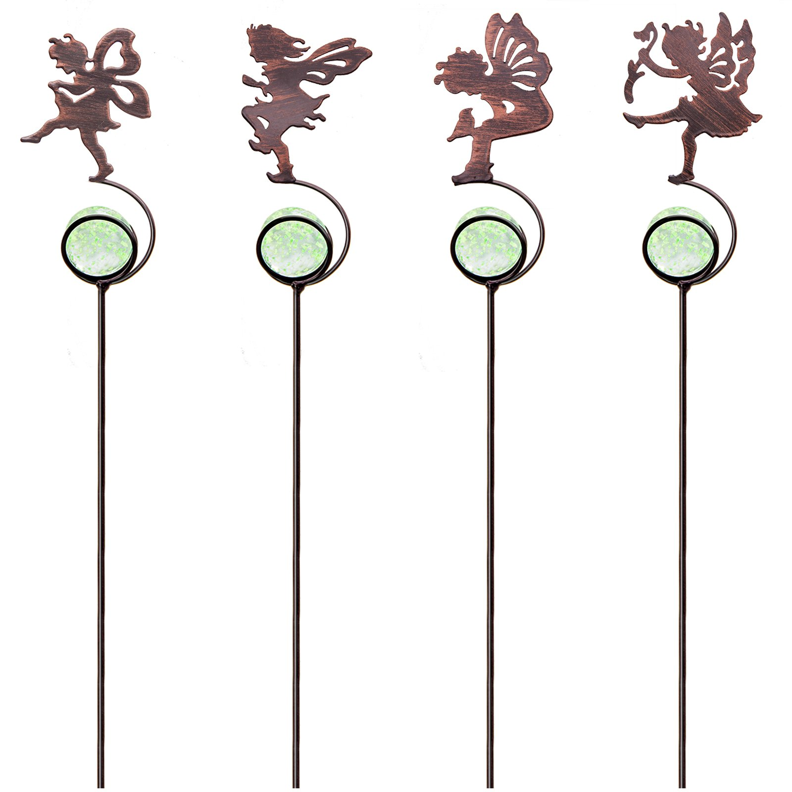 CREATIVE DESIGN Garden Stakes, 4 Pack Fairy Garden Stakes, Metal Mini Garden Stake with Glass Ball for Outdoor Yard, Plant Pots and Garden Décor (13.5'' height)