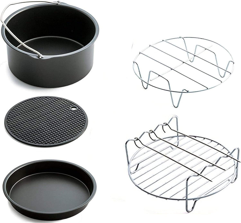 Aurkalri Air Fryer Accessories Set 5 pcs with Non-stick Barrel/Pan, Pizza Pan,Metal Holder,Roasting Racks And Silicone Mat,Fit all 3.7QT - 5.3QT(7 Inch)
