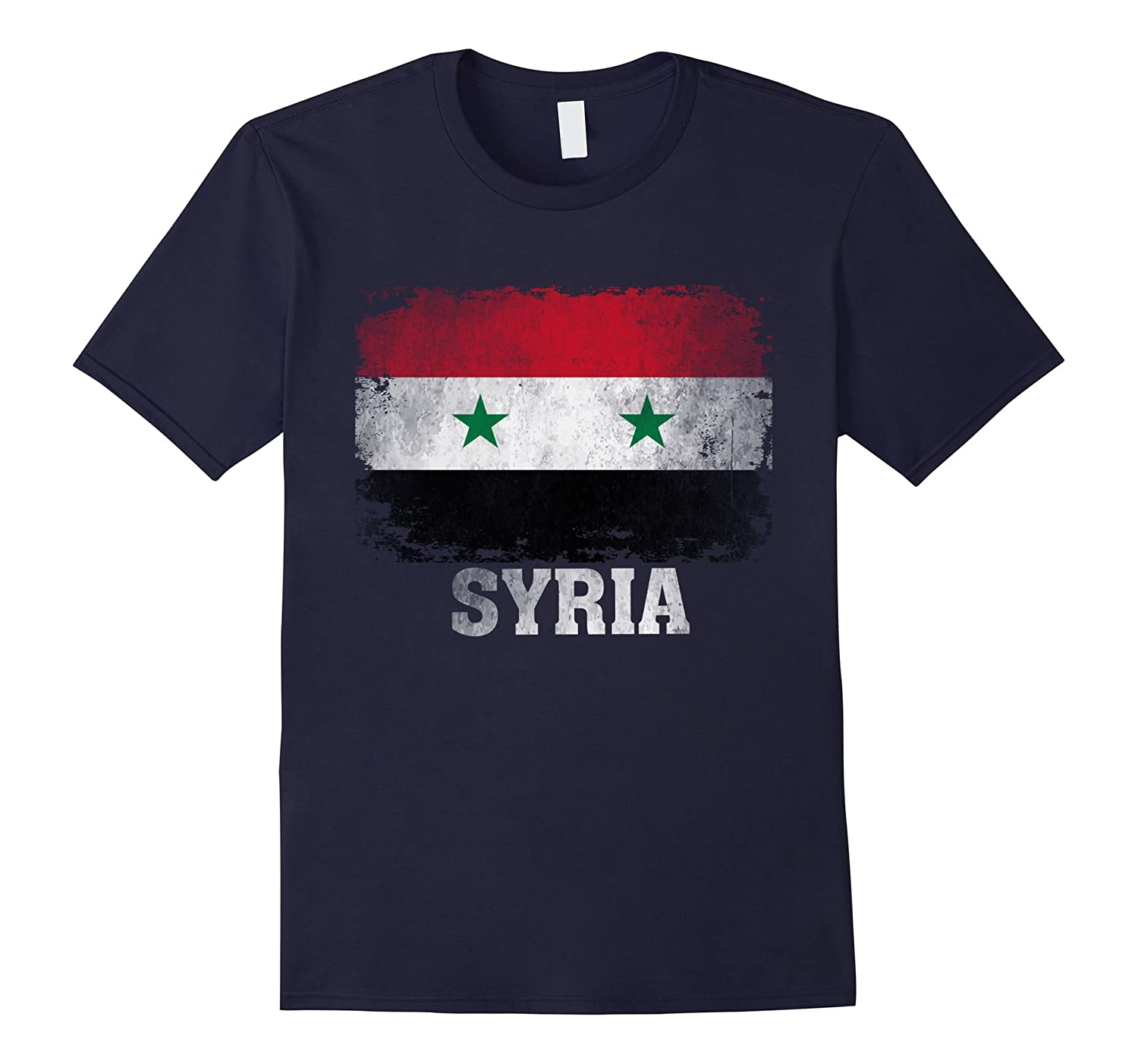 Syria Syrian Flag Vintage Distressed Aged Look T-Shirt-TD