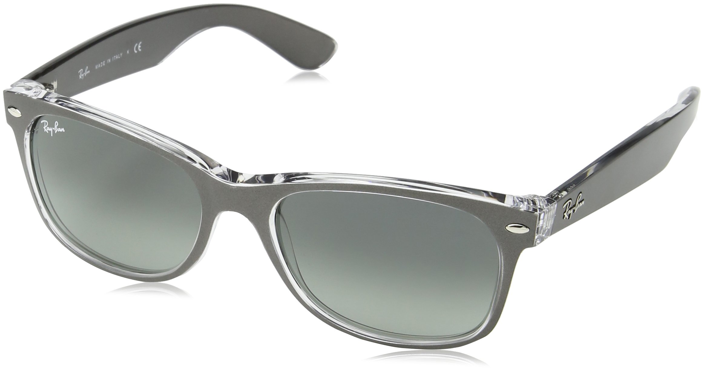RAY-BAN RB2132 New Wayfarer Sunglasses, Brushed Gunmetal On Transparent/Grey Gradient, 55 mm by RAY-BAN