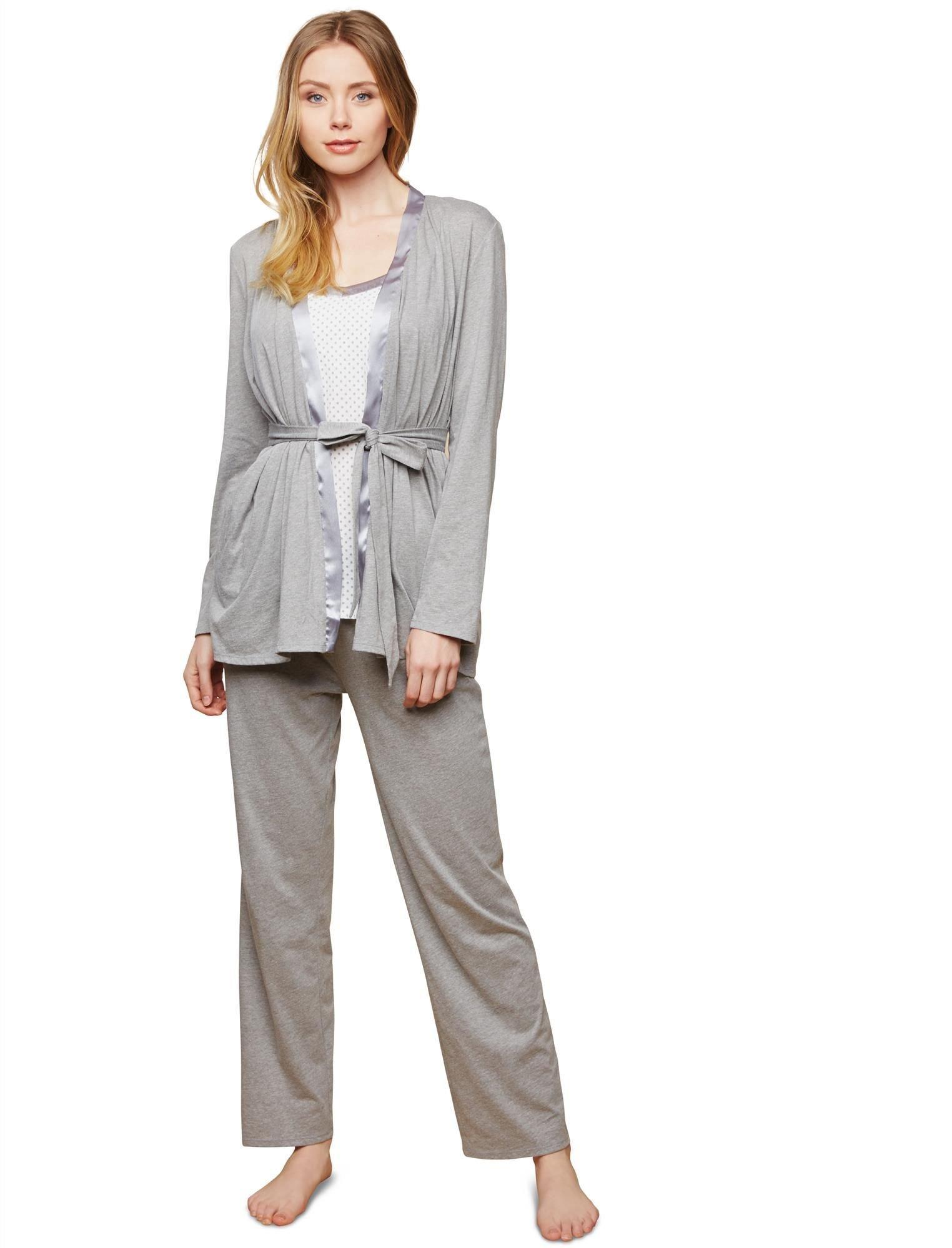 Motherhood Maternity Women's Maternity Satin Trim 3 Piece Pajama Set with Nursing Function, Grey/White Dot, Small