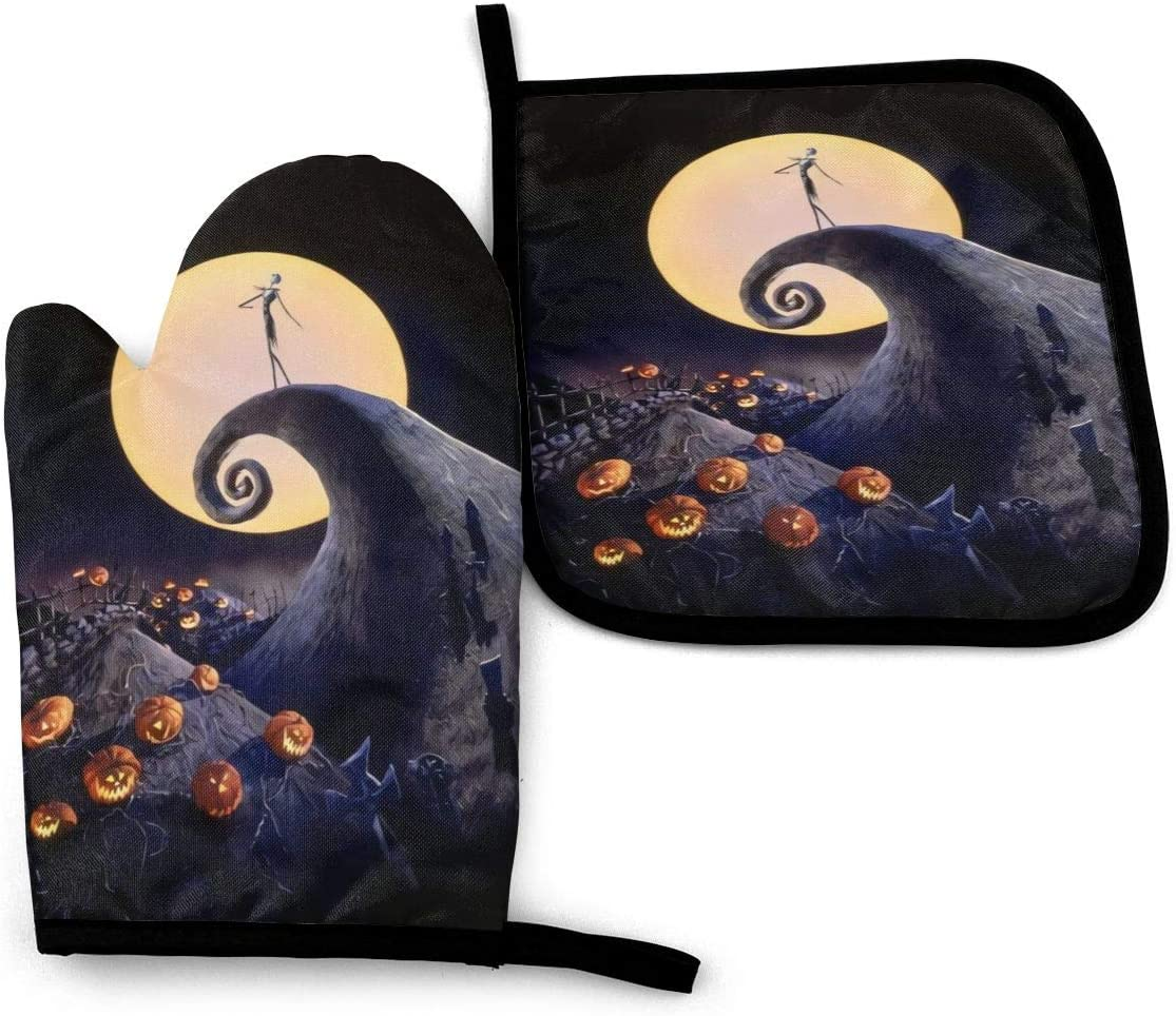 KZEMATLI The Nightmare Before Christmas Heat Resistant Oven Mitts + 1 Cotton Pot Holders Non Slip Oven Gloves for Kitchen Cooking Baking, BBQ