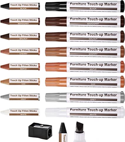 Furniture Markers Touch Up,Wood Filler Floor Scratch Repair Kits,Set of 17
