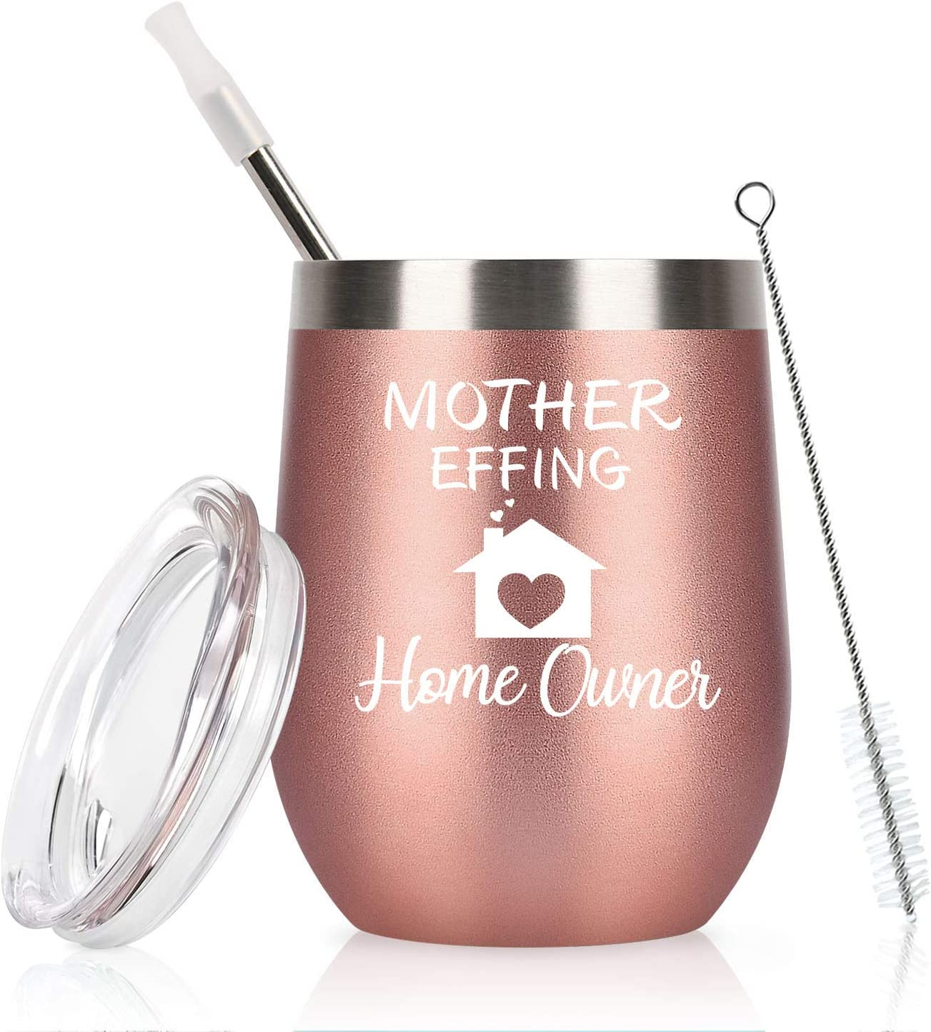 Gingprous Housewarming Gifts Unique Gifts For New Home Owner, Homeowner Funny First Time Home Owner Gift Ideas,12 Oz Stainless Steel Insulated Wine Tumbler with Lid and Straw, Rose Gold