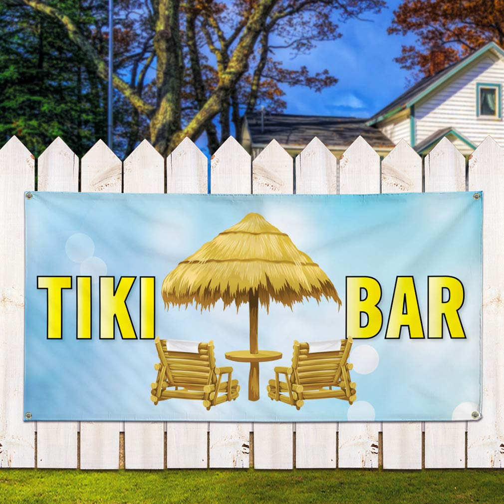 8 Grommets 44inx110in Multiple Sizes Available One Banner Vinyl Banner Sign Tiki Bar #2 Lifestyle Tiki bar Marketing Advertising Aqua-Blue