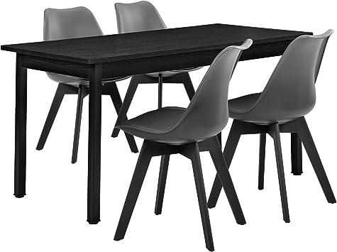 en.casa] Juego de Comedor - Mesa Negra 140cm x 60cm con 4 sillas ...