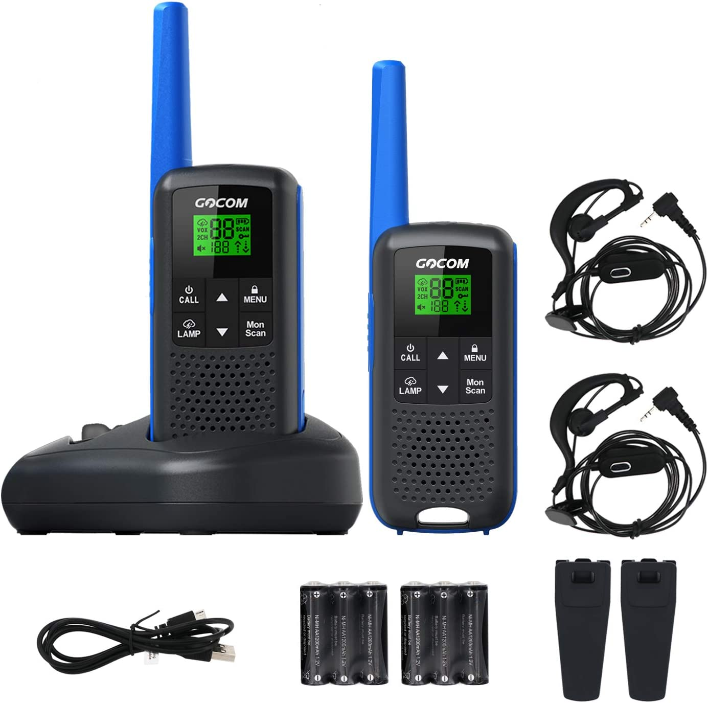 GOCOM Walkie Talkies for Adults Two Way Radios, 2,662 Channels 32 Miles Long Range Walkie Talkies Rechargeable, VOX Scan, Weather Scan+Alert, LED Light for Outdoor Rowing Biking Hiking Camping Travel