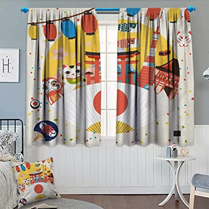 cool window curtains unique chaneyhouse lantern blackout window curtain japanese inspired commercial pattern various asian culture items cool cat origami amazoncom