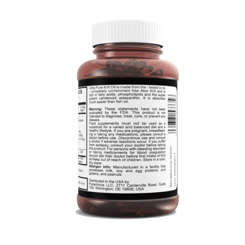 Aceite de Kril Aker Ultra Puro 500mg x 480 cápsulas (4 frascos) - de las limpias aguas del Antártico que dan un rico suministro de Astaxantina, Omega 3, ...