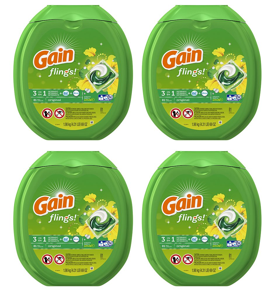 Gain fjwnK Flings Laundry Detergent Packs, Original, 81 Count (4 Pack) by Gain