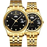 Reloj de pulsera para parejas, de acero inoxidable, resistente al agua, reloj de cuarzo