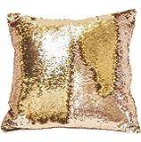 DIKETE® lato reversibile copertura del cuscino paillettes fai da te a due colori paillette Mermaid Pillow throw case Square glitter cuscino per home festival decorazione auto divano 40 x 40 cm (castagno e oro)
