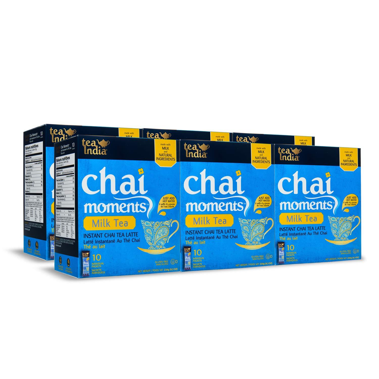 Tea India Chai Moments, Milk Tea, Instant Chai Tea Latte, 10 Count (Pack of 6)
