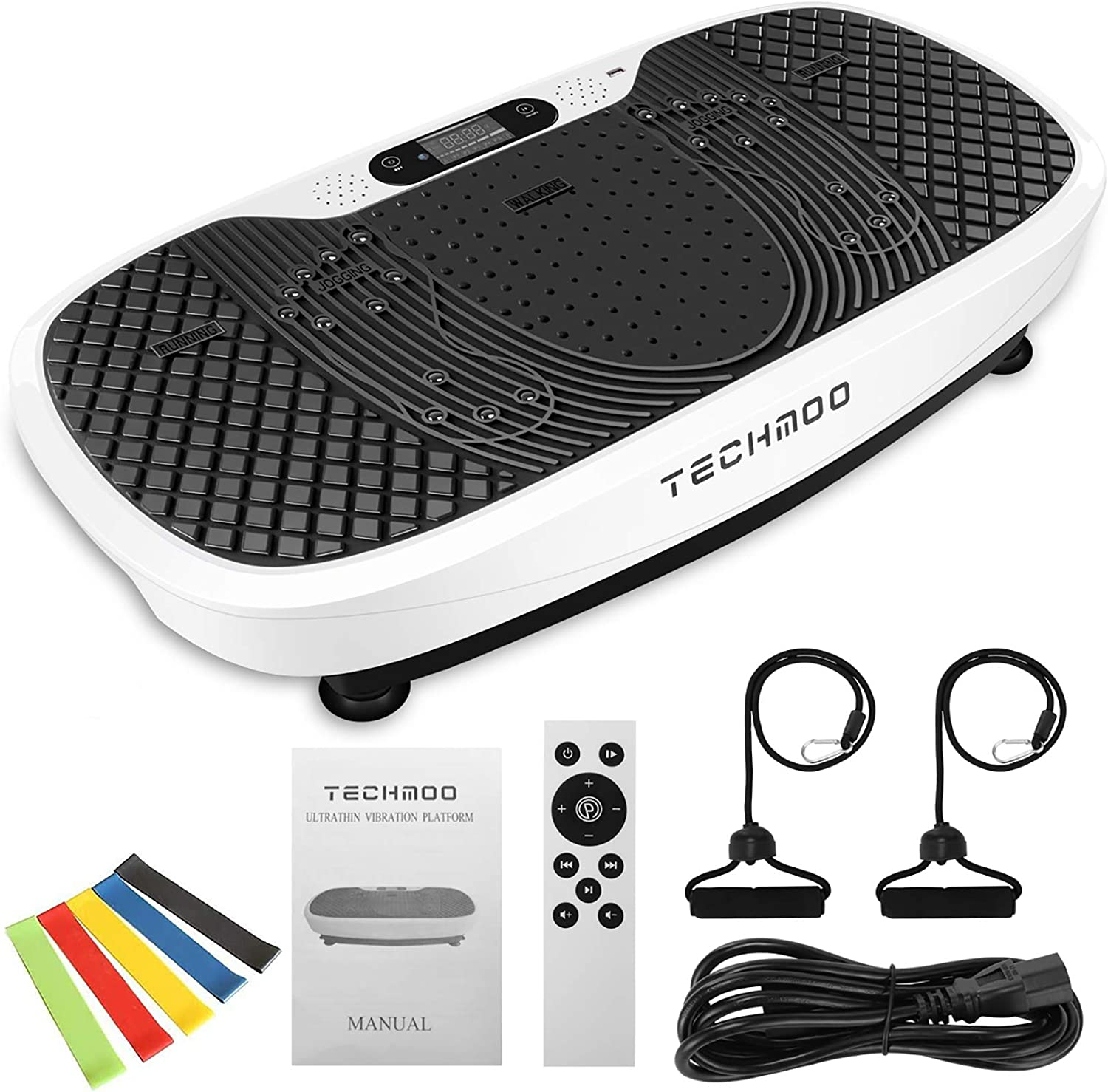 Remote-99 Levels Vibration Plate,8 Auto Running Programs Jshuang Pro Vibration Plate Exercise Machine-441Lbs,LCD Display Bluetooth