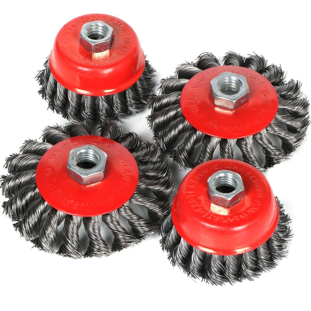 """4 pcs 75mm Twist knot 4-1//2/"""" wire cup brush 3/"""" Inch cup brush Twisted"""